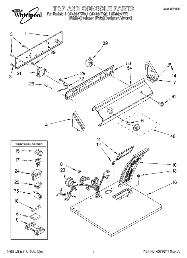 diagram parts list for model lgr4634eq0 whirlpoolparts dryerparts